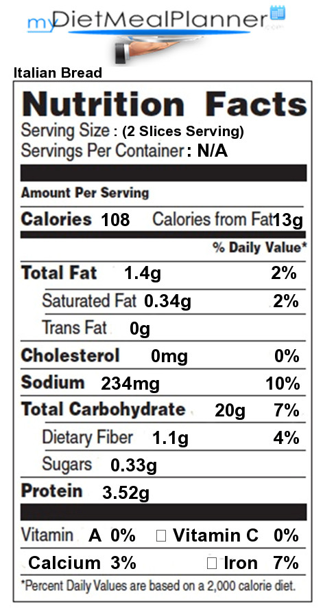 Italian Bread Calories  Nutrition facts Label Breads & Cereals 12