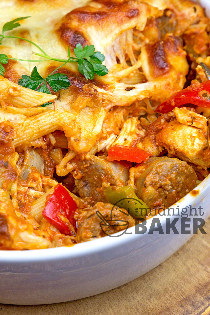 Italian Chicken Sausage  Italian Bake Casserole The Midnight Baker