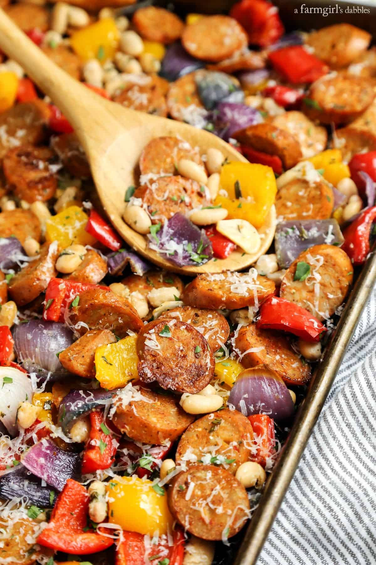 Italian Chicken Sausage Recipes  Sheet Pan Italian Chicken Sausage with White Beans and