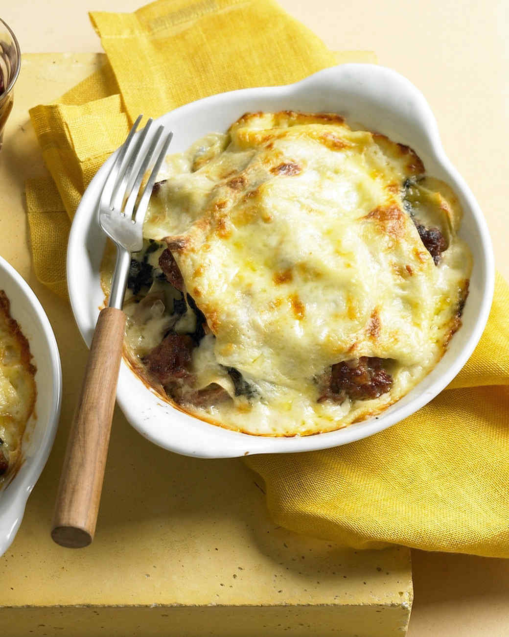 Italian Sausage Lasagna  Individual Swiss Chard and Italian Sausage Lasagna