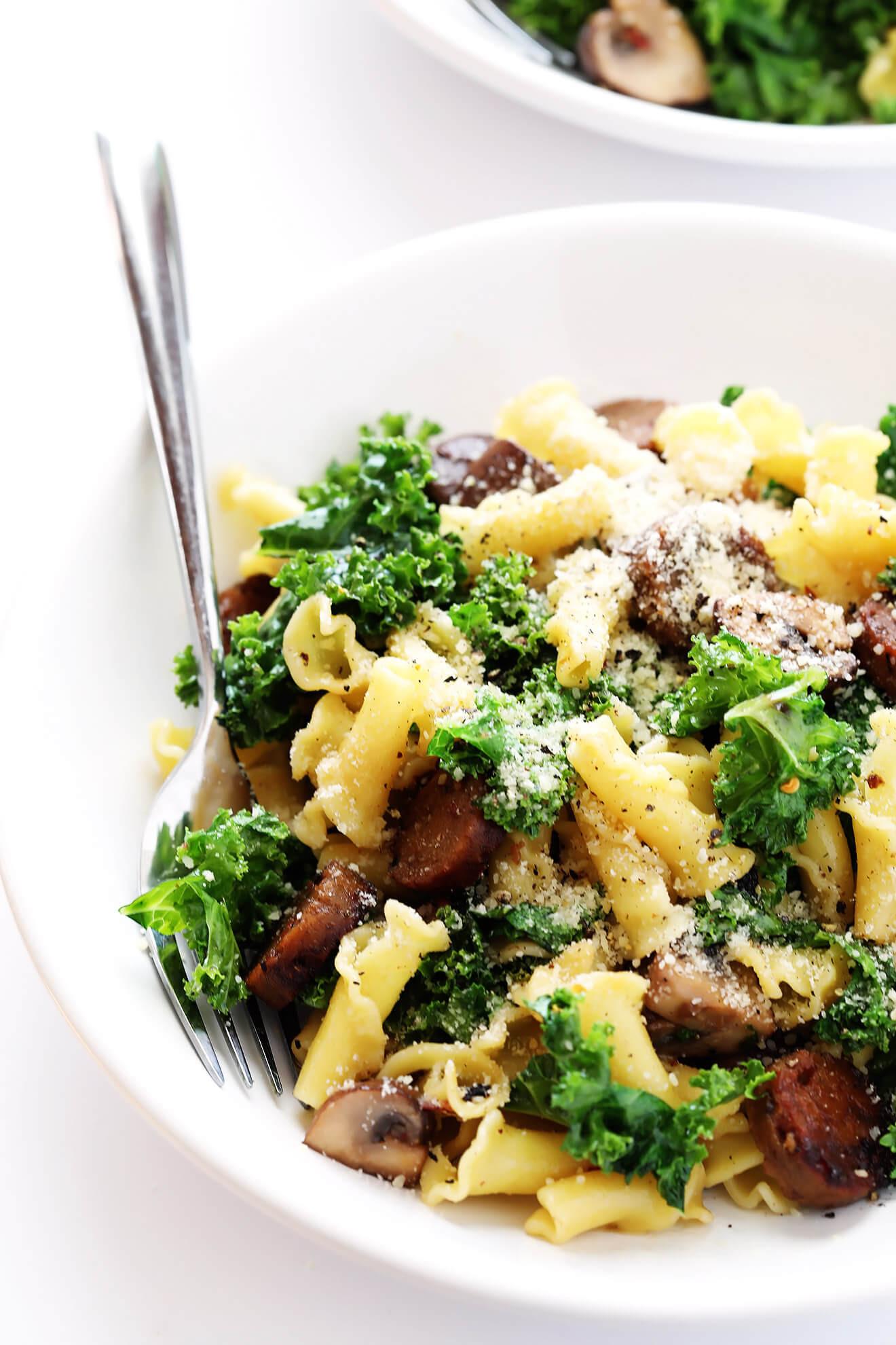Italian Sausage Recipes  Pasta with Italian Sausage Kale and Mushrooms