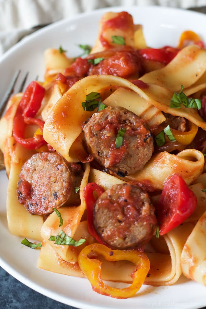 Italian Sausage Recipes  Tomato Pappardelle Pasta with Italian Sausage and Peppers