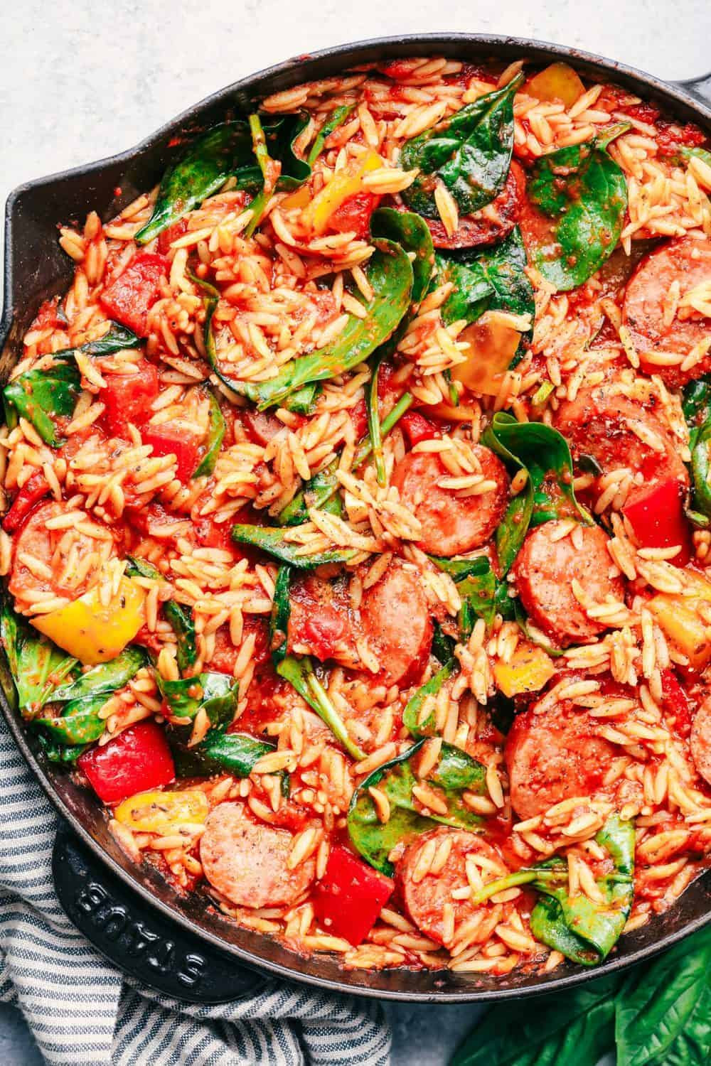 Italian Sausage Recipes  Italian Sausage and Ve able Orzo Skillet