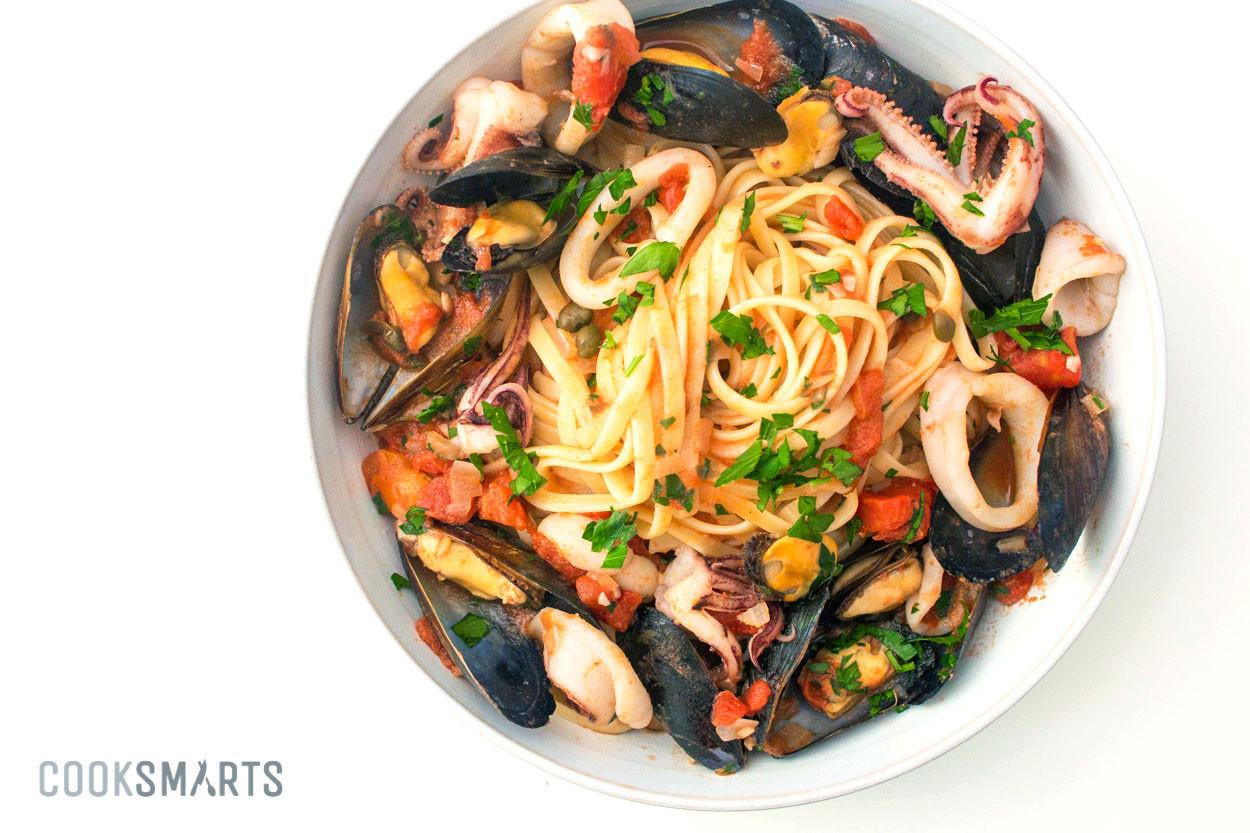 Italian Seafood Recipes  Italian Seafood Pasta with Mussels & Calamari – Cook Smarts