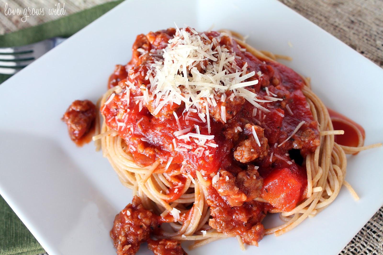 Italian Spaghetti Sauce  Spaghetti Sauce with Italian Sausage Love Grows Wild
