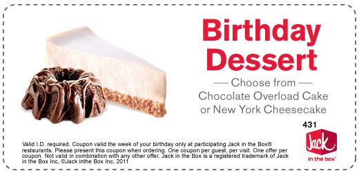 Jack In The Box Desserts  25 Best Ideas about Birthday Coupons on Pinterest