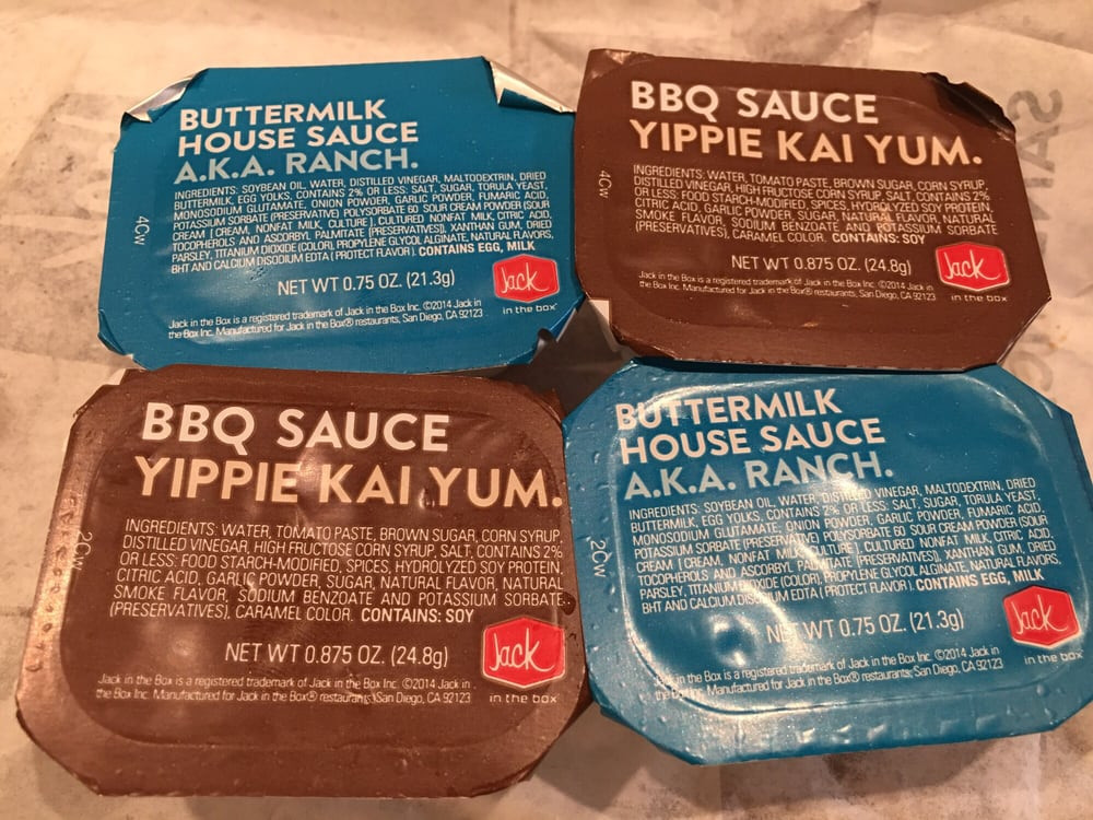 Jack In The Box Sauces  Ranch and BBQ Sauce I like how the BBQ sauce is AKA