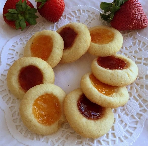 Jam Filled Cookies  Eggless Jam Filled Thumbprint Cookies Recipe by Archana s
