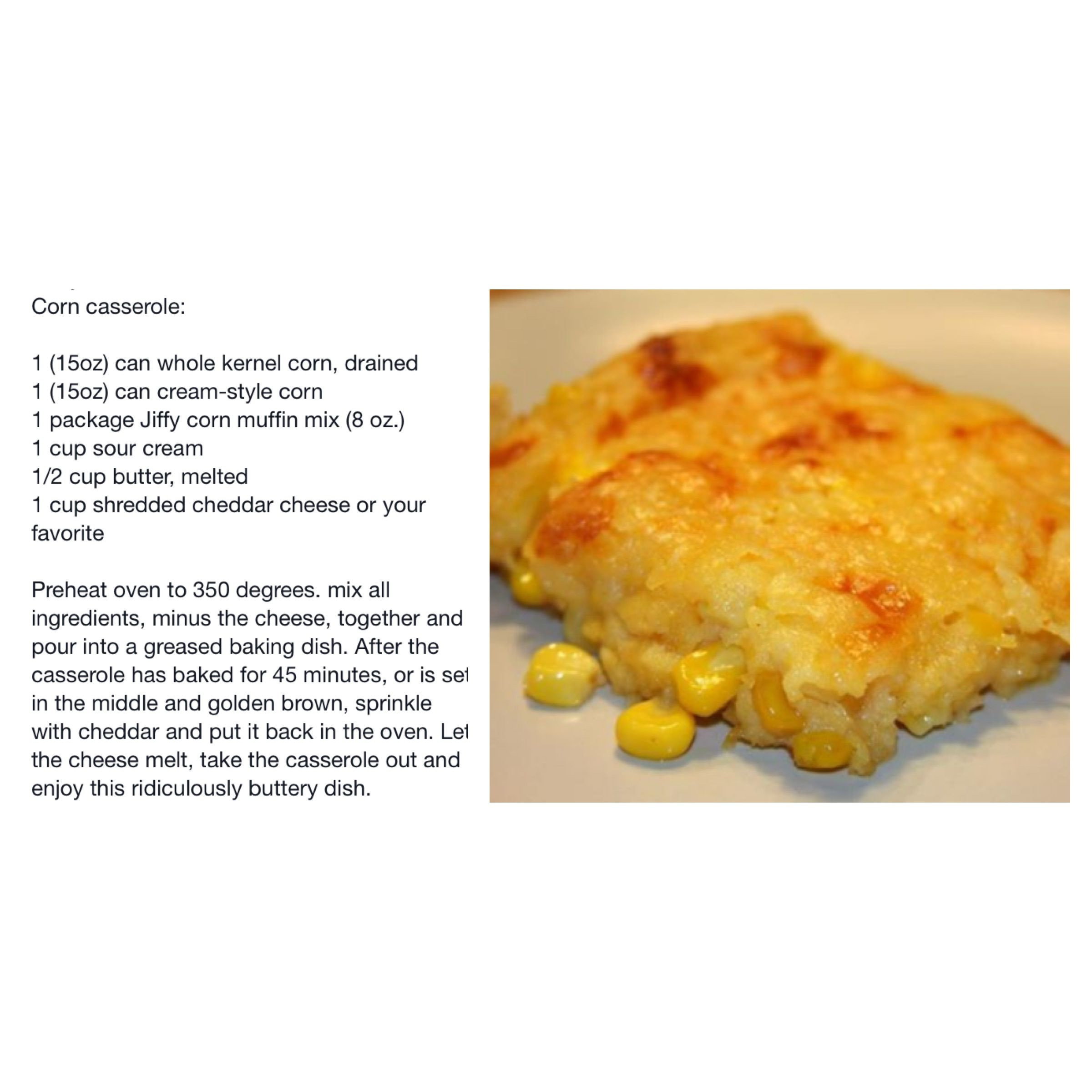 Jiffy Corn Casserole Recipe  Jiffy cornbread mix recipes corn casserole