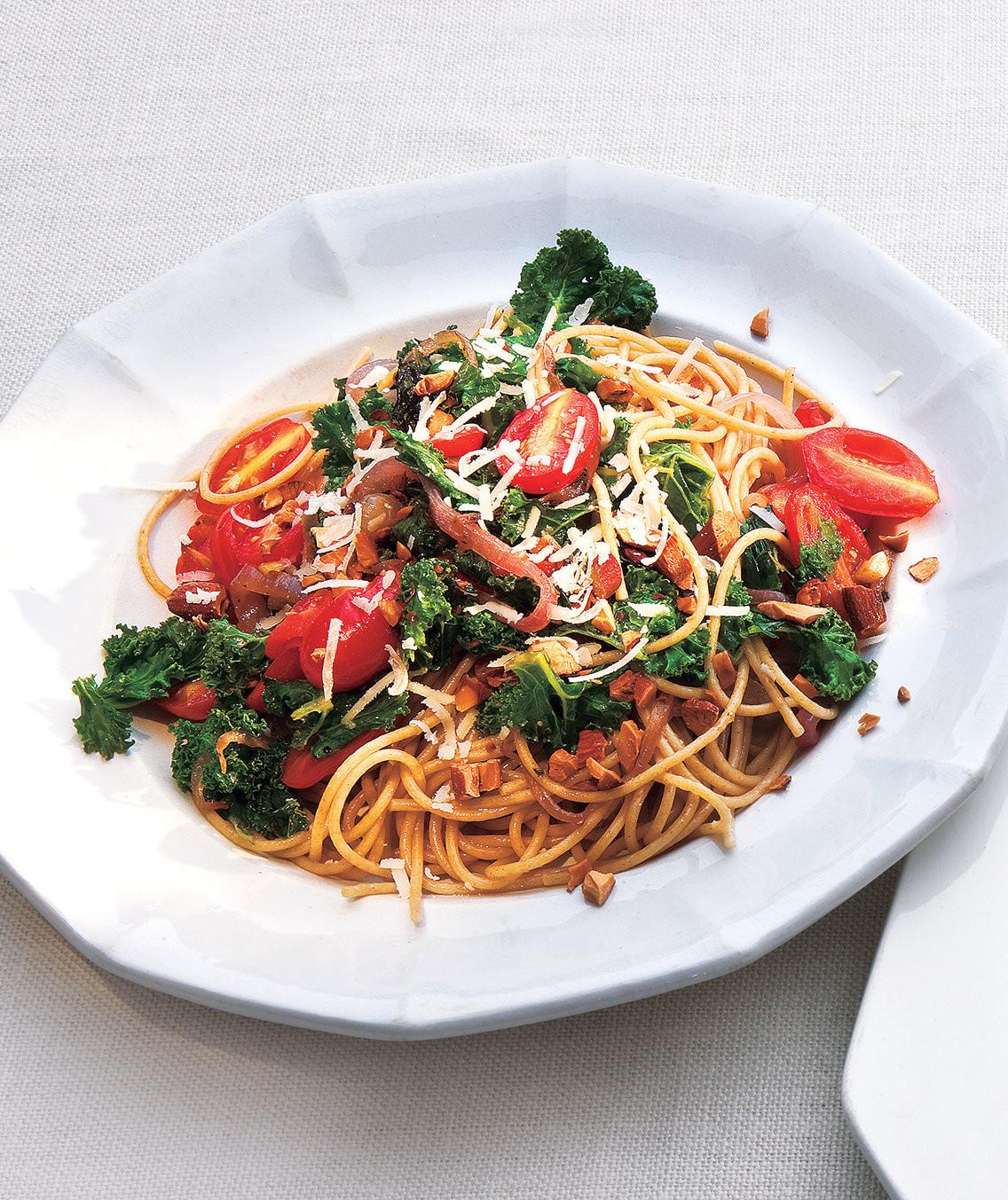 Kale Dinner Recipes  Whole Grain Spaghetti With Kale and Tomatoes Recipe