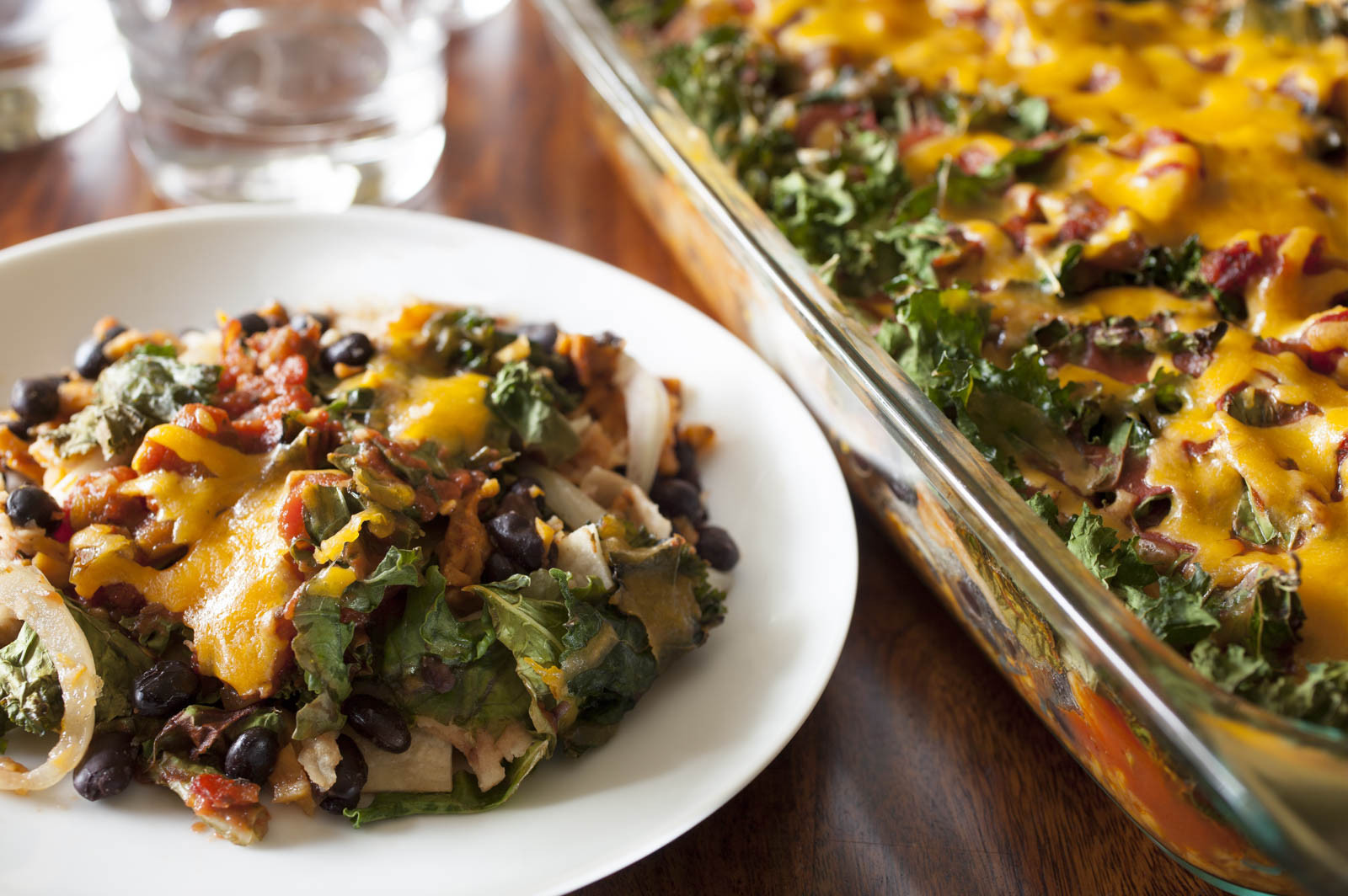 Kale Dinner Recipes  Easy Enchilada Casserole with Kale and Sweet Potatoes