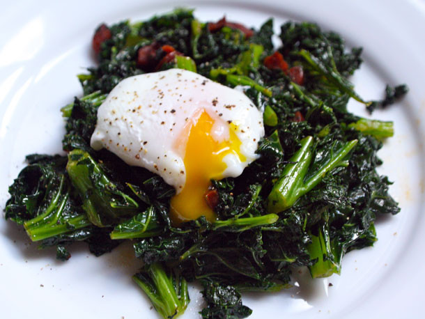 Kale Dinner Recipes  Kale with Chorizo and Poached Eggs Recipe
