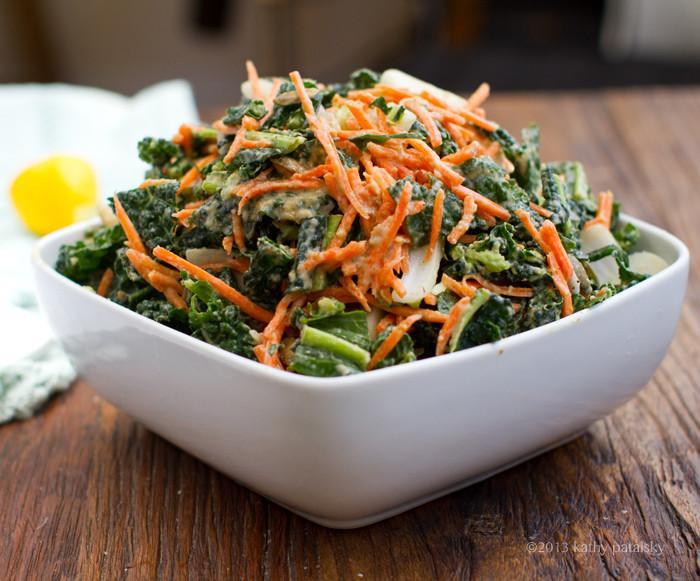 Kale Recipes Vegan  5 Step Raw Kale Salad Vegan Recipe