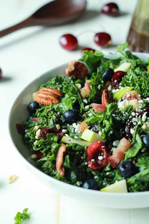 Kale Salad Recipes  Cherry Summer Kale Salad with Balsamic Vinaigrette