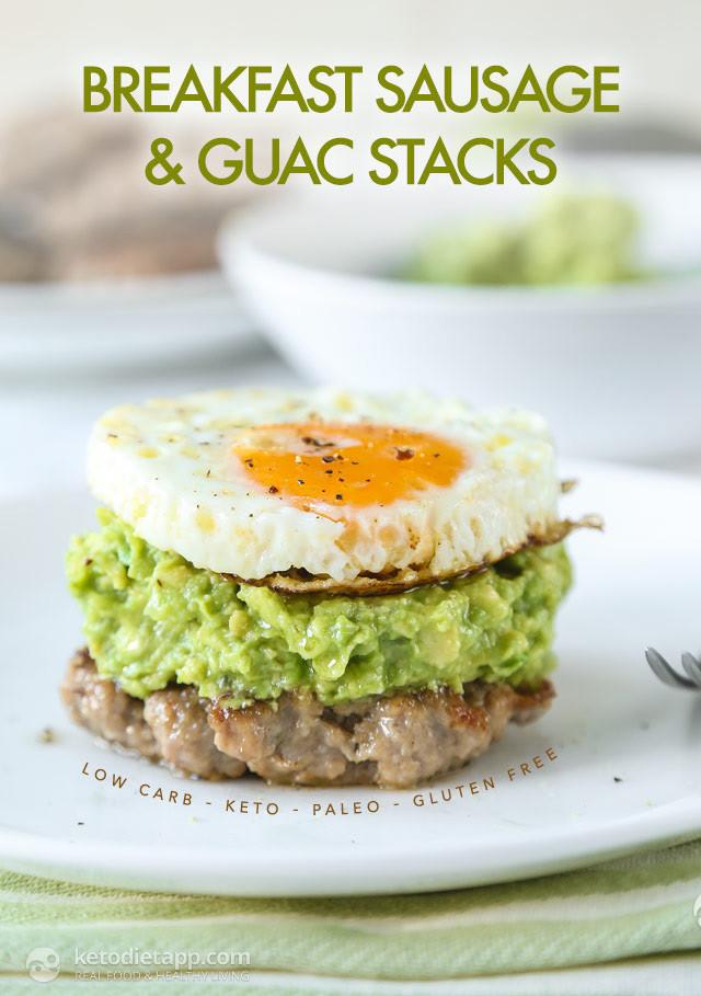 Keto Breakfast Recipes  Keto Breakfast Sausage & Guac Stacks