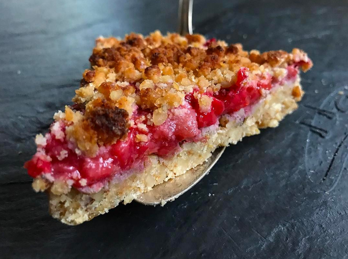 Keto Desserts To Buy  Keto Strawberry Rhubarb Crumble Grain Free No Sugar Added