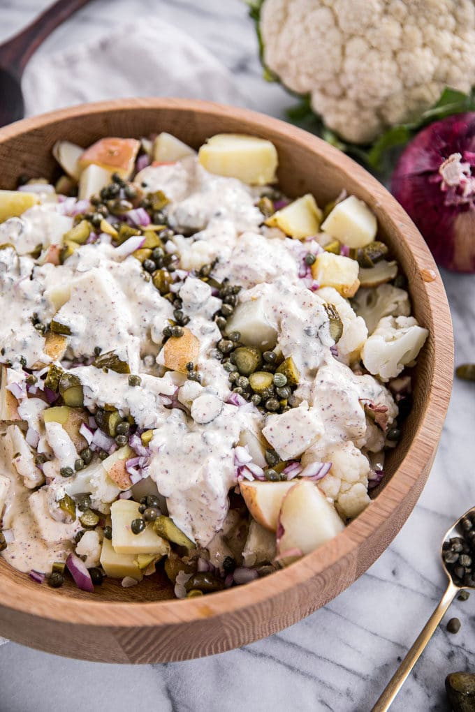 Keto Potato Salad  Easy Cauliflower Potato Salad Recipe Paleo Low Carb