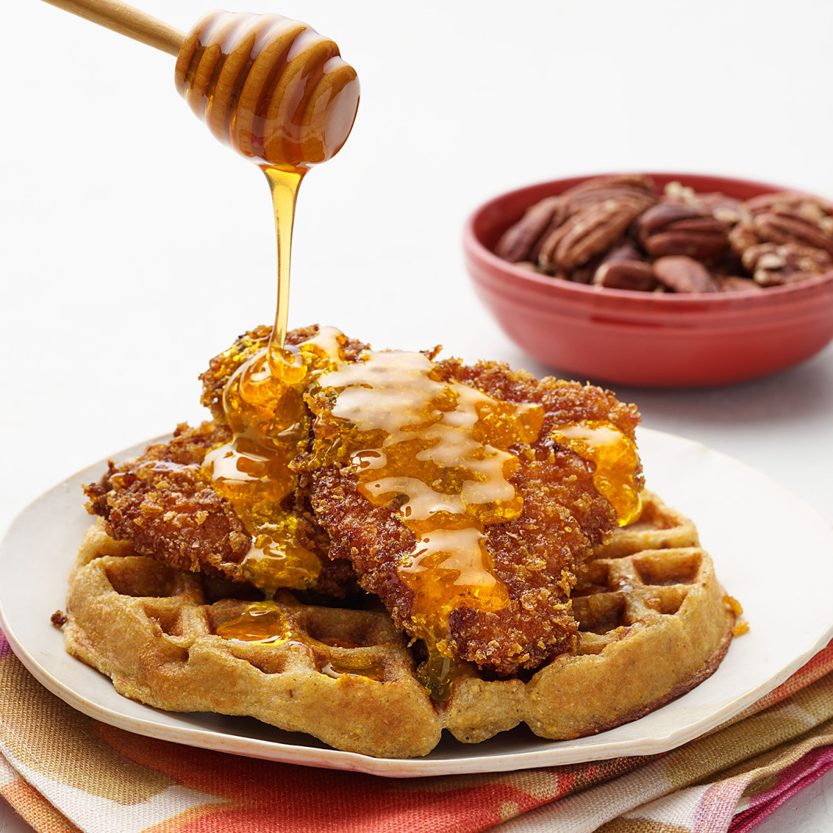 Kfc Chicken And Waffles  Cornflake Fried Chicken & Waffles with Pecans Rachael
