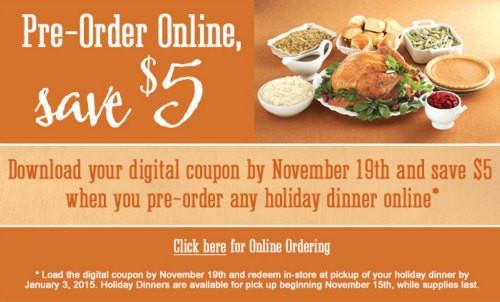 Kroger Christmas Dinner  $5 f Kroger Holiday Dinner When You Pre Order