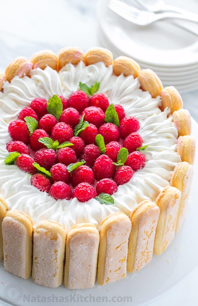 Lady Finger Dessert Recipes  Raspberry Charlotte Cake Recipe Natasha s Kitchen