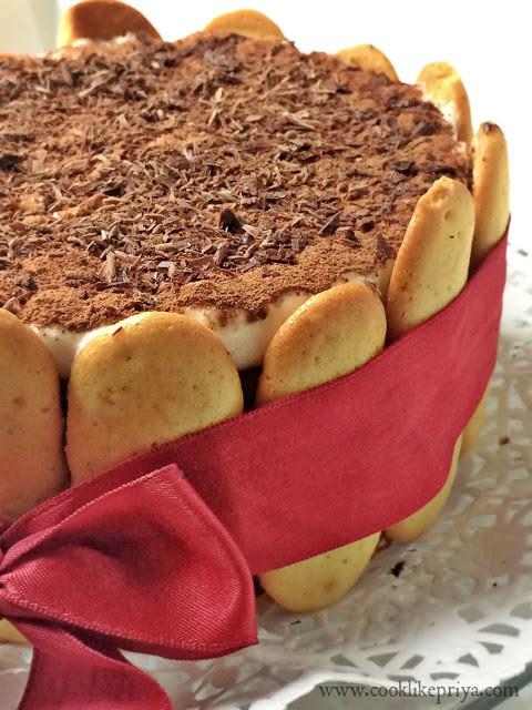 Lady Fingers Dessert Recipes  Cook like Priya Tiramisu Birthday Cake for Husband