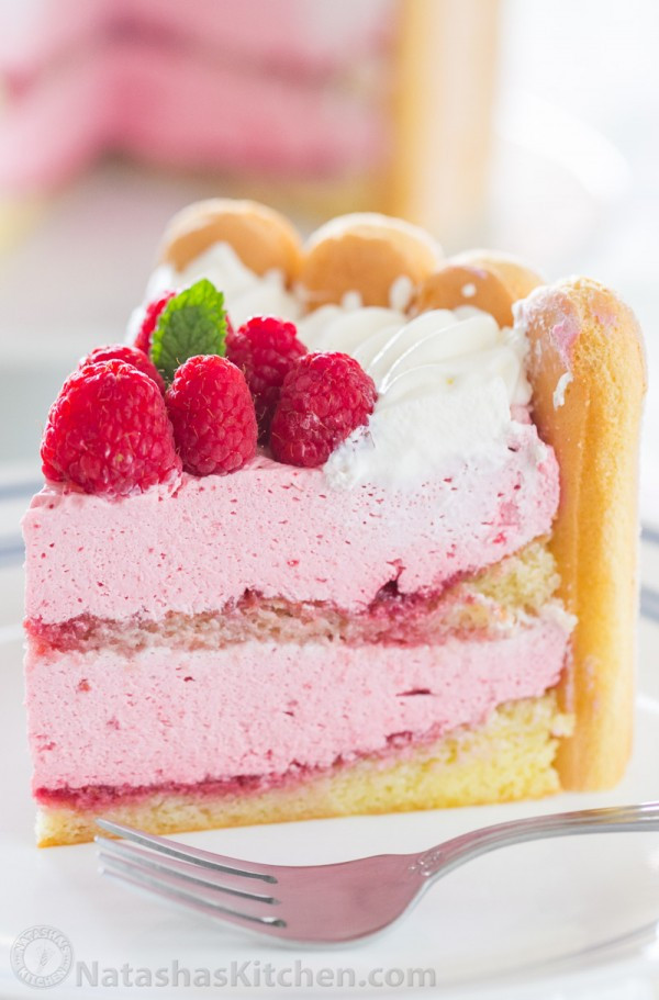 Lady Fingers Dessert Recipes  Raspberry Charlotte Cake Recipe Natasha s Kitchen