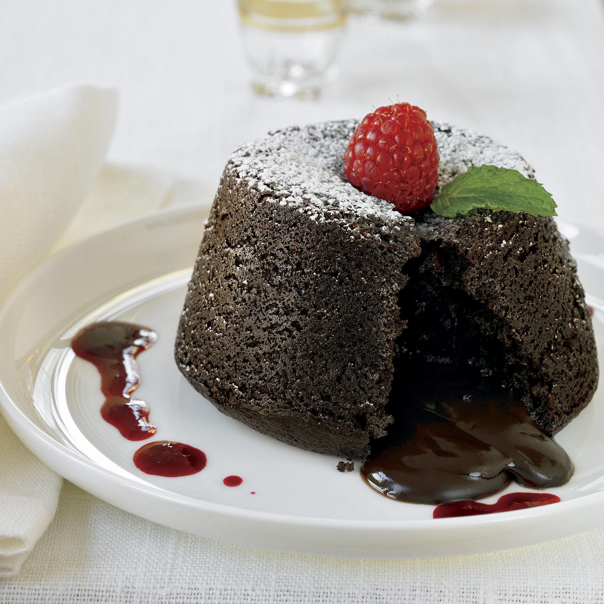 Lava Cake Recipe  Chocolate Molten Lava Cakes with Raspberry Sauce Recipe
