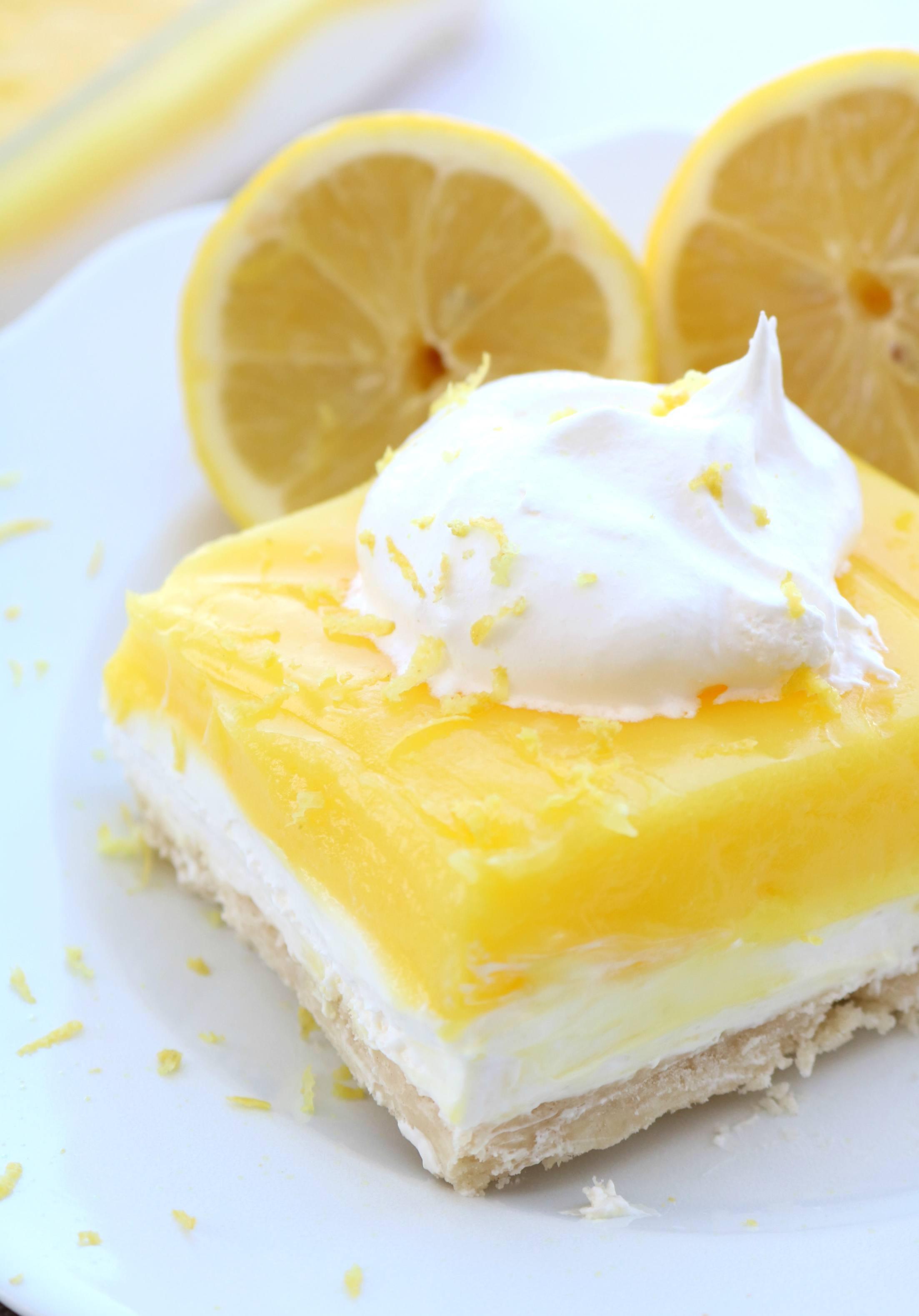 Layered Lemon Dessert  Layered Lemon Dessert Sugar n Spice Gals