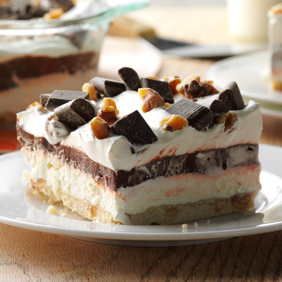Layered Pudding Desserts  Easy Four Layer Chocolate Dessert Recipe