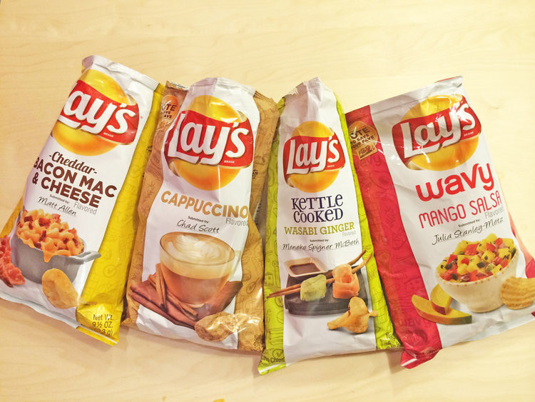 Lays Potato Chips Flavors List  Lay s New Potato Chip Flavors Cappuccino Wasabi Ginger