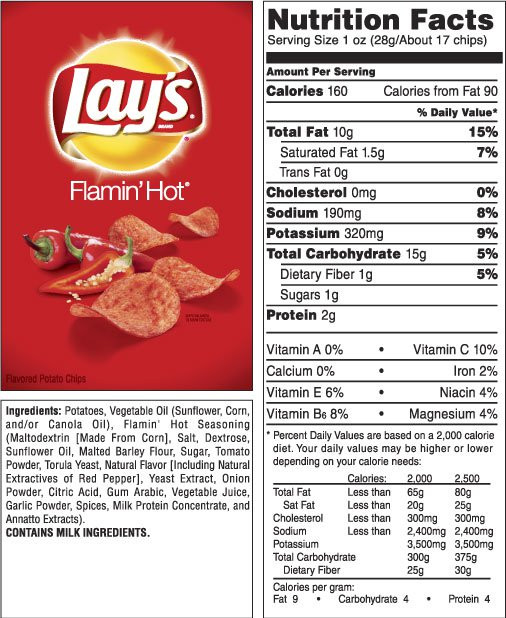 Lays Potato Chips Nutrition  LAY S Classic Potato Chips