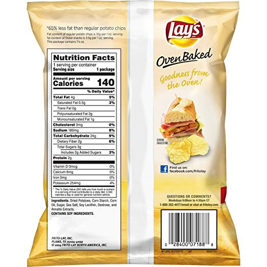 Lays Potato Chips Nutrition  Small Bag Baked Lays Chips Nutrition Facts Nutrition Ftempo