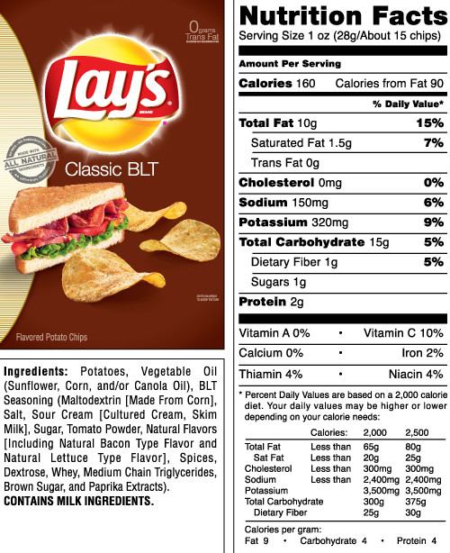 Lays Potato Chips Nutrition  Nutrition Facts For A Bag Lays Potato Chips Nutrition