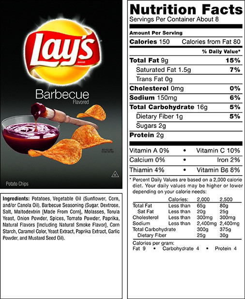 Lays Potato Chips Nutrition  The gallery for Lays Potato Chips Nutrition Facts