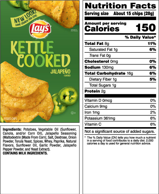 Lays Potato Chips Nutrition  LAY S Kettle Cooked Jalapeño Flavored Potato Chips