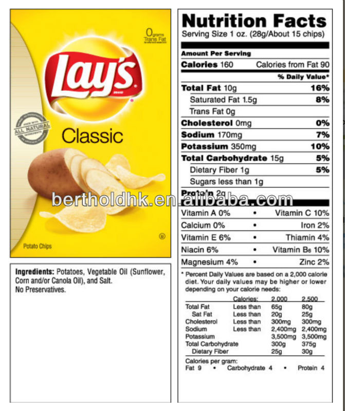 Lays Potato Chips Nutrition  lays potato chips serving size