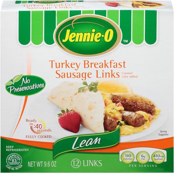 Lean Breakfast Meat  Jennie O Lean Turkey Breakfast Sausage Links 9 6 oz Box