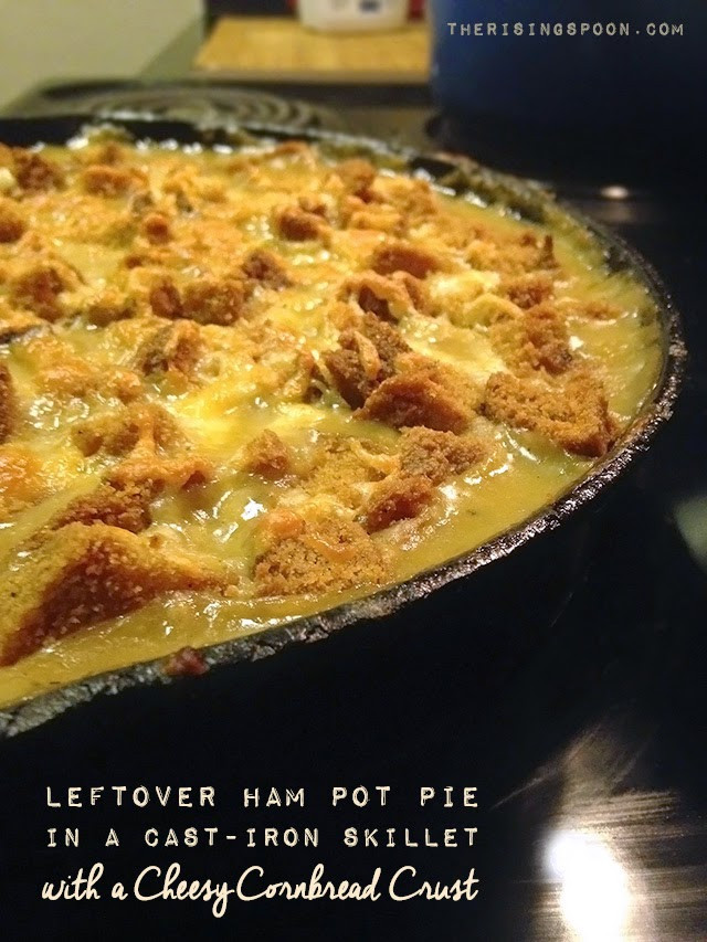 Leftover Cornbread Recipes  Leftover Ham Pot Pie in a Cast Iron Skillet with a Cheesy
