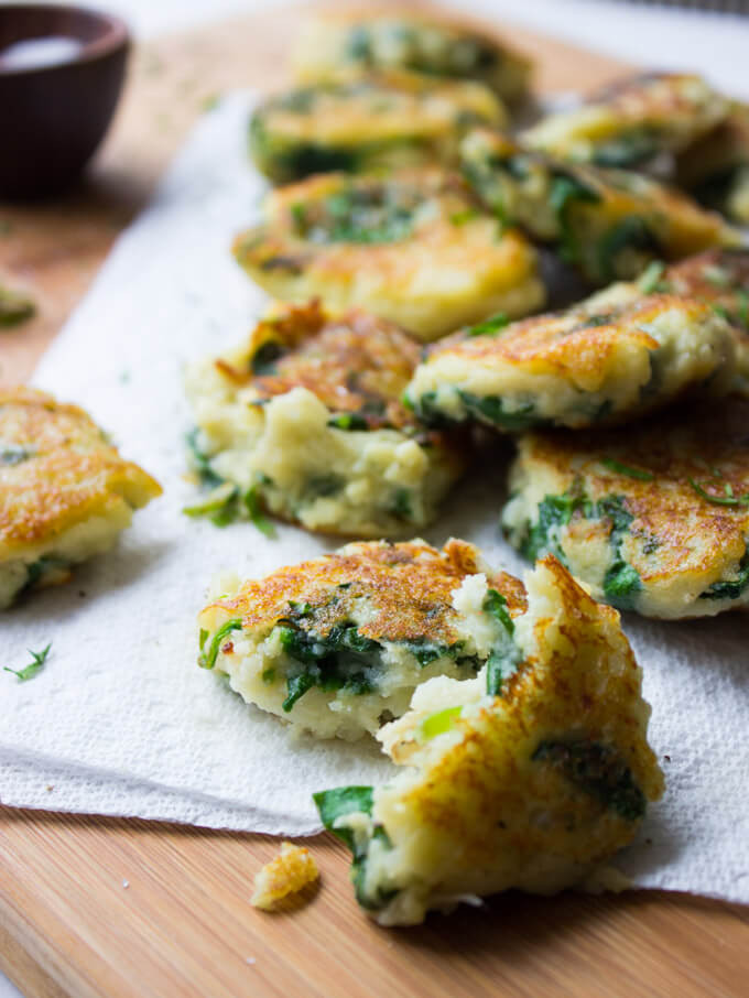 Leftover Mashed Potato Cakes  Leftover Mashed Potato Cakes with Spinach