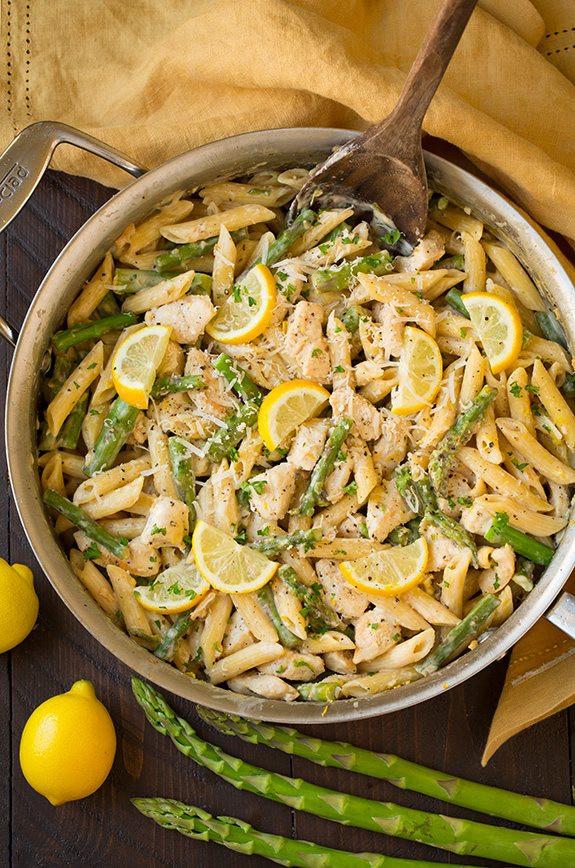 Lemon Asparagus Pasta  e Pan Creamy Lemon Pasta with Chicken and Asparagus