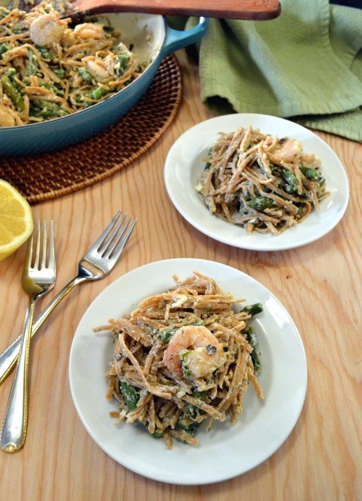 Lemon Asparagus Pasta  Lemon Asparagus Pasta with Roasted Shrimp