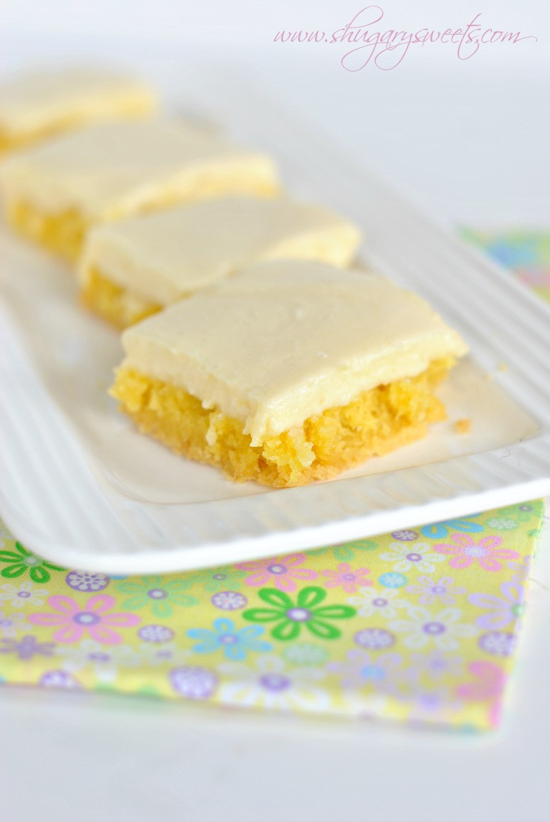 Lemon Bars With Cake Mix  Gooey Lemon Cake Bars Shugary Sweets