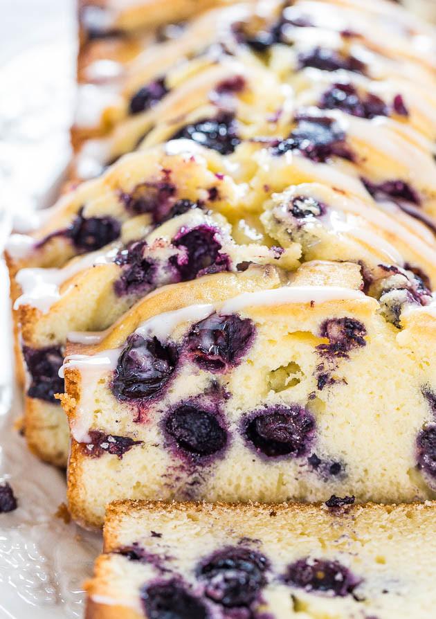 Lemon Blueberry Pound Cake  Lightened Up Blueberry Lemon Pound Cake Averie Cooks