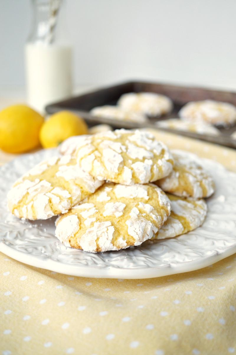 Lemon Cake Mix Cookies  lemon cake mix crinkle cookies