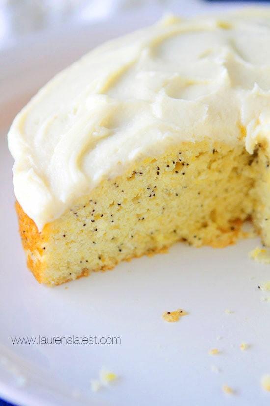 Lemon Poppyseed Cake  Lemon Poppyseed Cake with Cream Cheese Frosting Lauren s