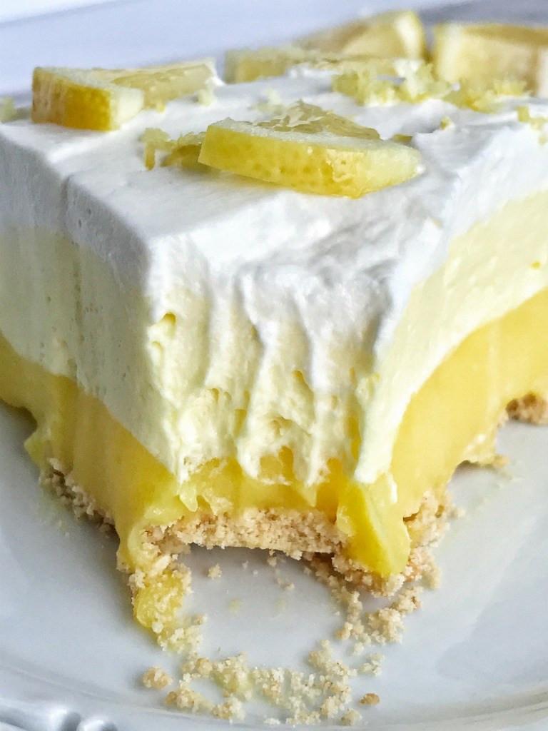 Lemon Pudding Desserts  no bake Triple Layer Lemon Pudding Pie To her as Family