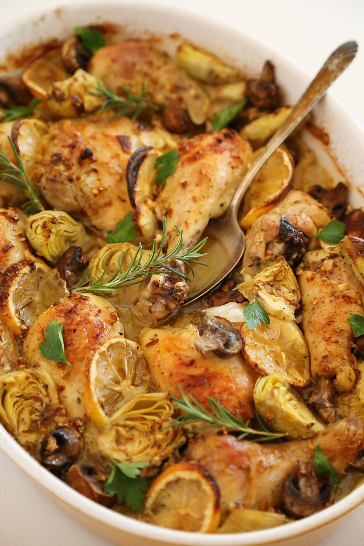 Lemon Roasted Chicken  Lemon and Artichoke Oven Roasted Chicken