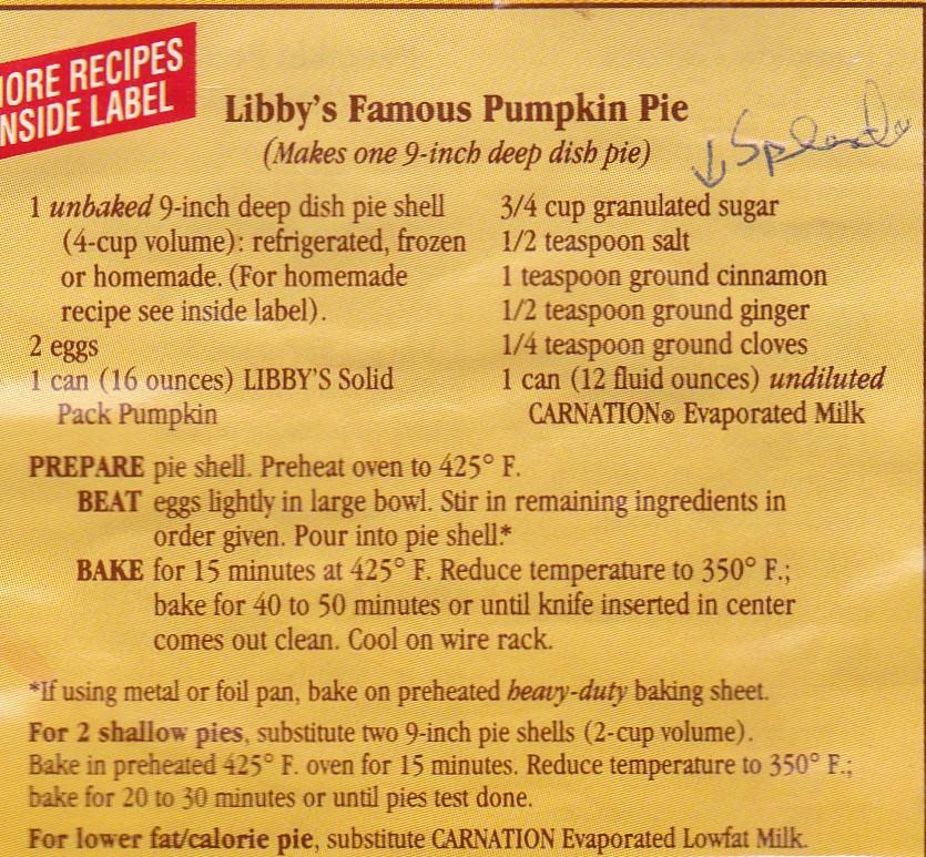 Libby Pumpkin Pie Recipe  libby pumpkin pie mix ingre nts