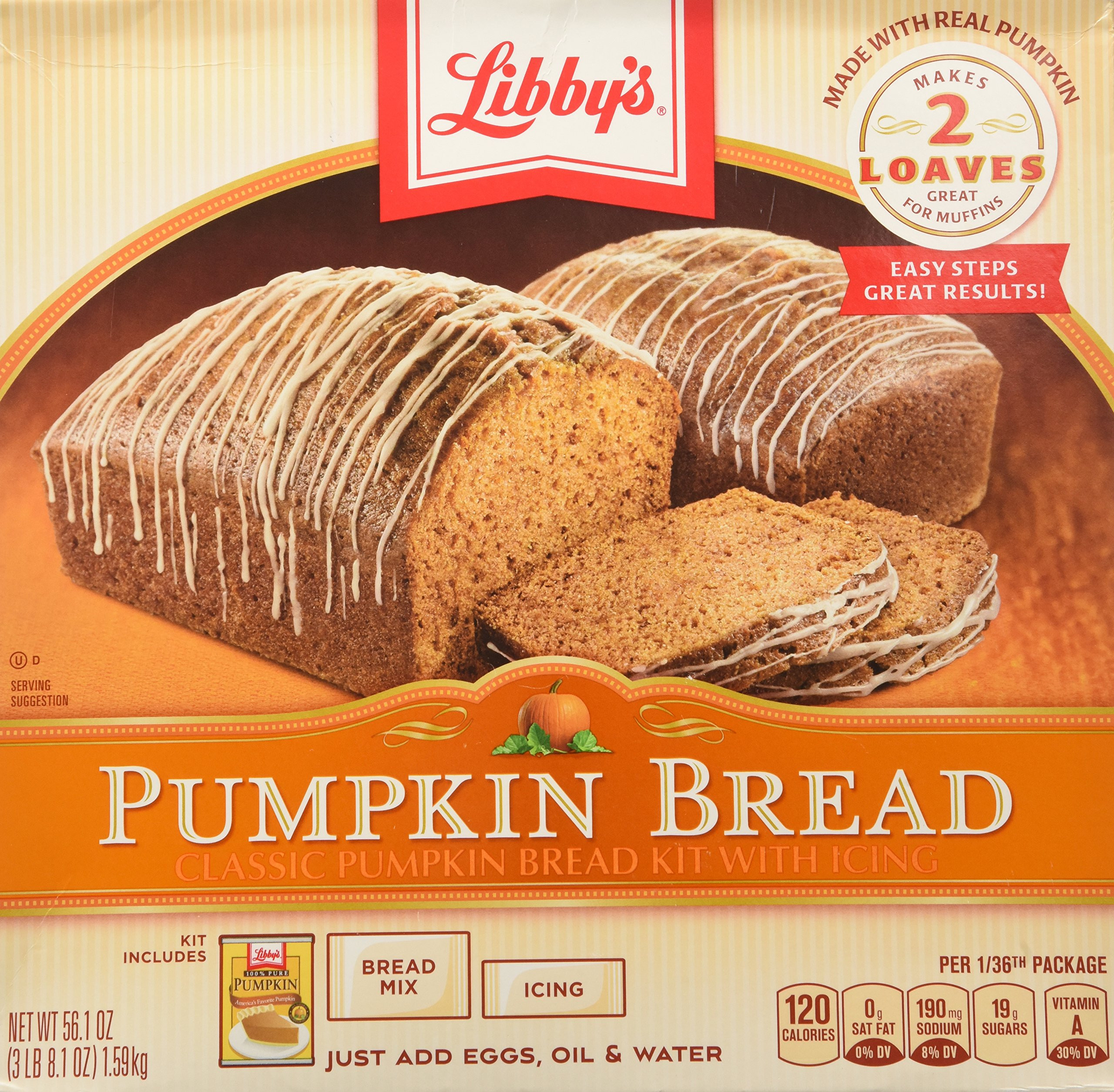 Libbys Pumpkin Bread  Amazon Libby s Pumpkin Bread Kit with Icing 56 1
