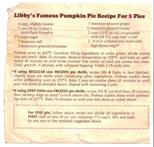 Libbys Pumpkin Pie Recipe  Libby's Famous Pumpkin Pie Recipe For 2 Pies RecipeCurio
